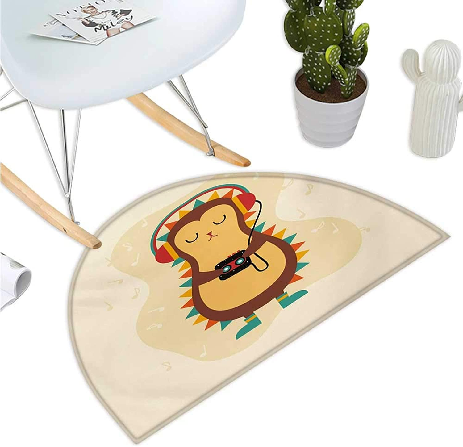 Hedgehog Half Round Door mats Animal with Spikes Listening Music from Its Retro Cassette Player Vintage Inspired Entry Door Mat H 43.3  xD 64.9  Multicolor