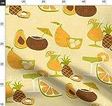 Obst, Retro, Aloha, Tropisch, Getränk, Mango Stoffe -