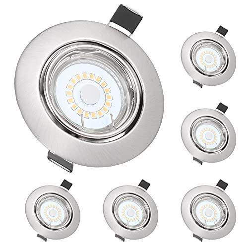 6 Piezas Foco Empotrable LED, Tom-shine GU10 5W 500LM Focos Led Empotrables en Techo, Ra80 Ojos de Buey de Led Marco Esmerilado,3000K Blanco Cálido/30° Rango Rotación/110 ° Ángulo de Iluminación