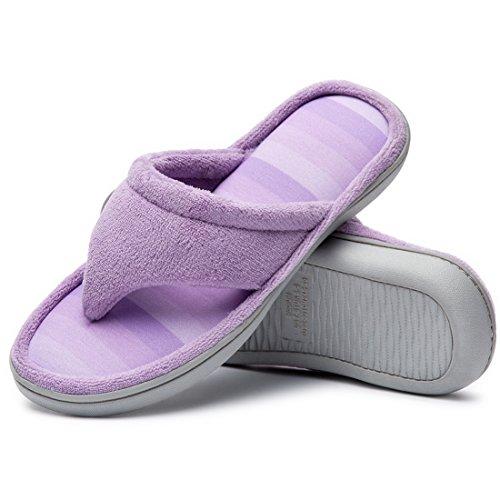 Cozy Niche - Zapatillas de microfibra con textura de espuma viscoelástica para spa, color Morado, talla 42/43 EU