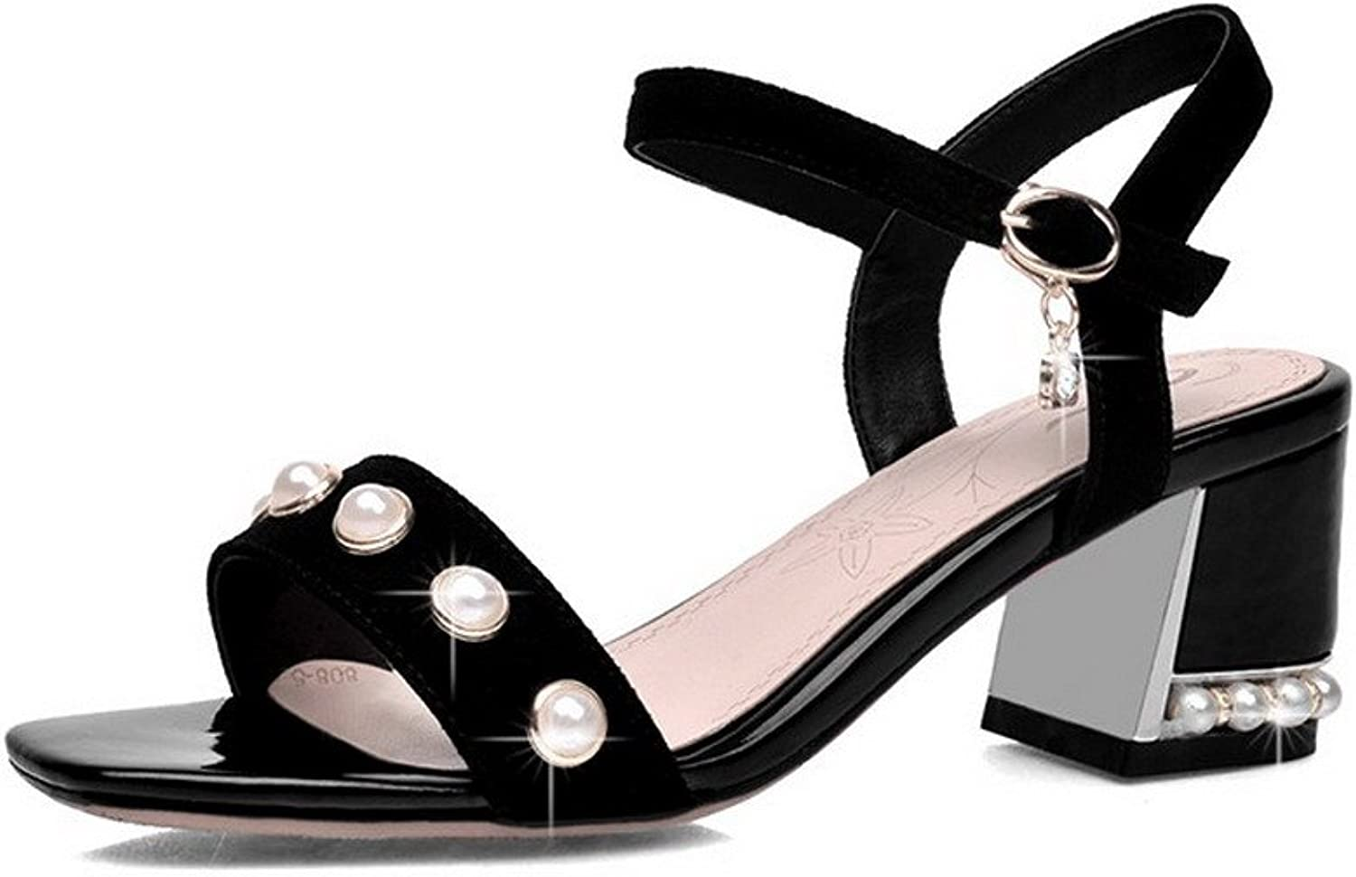 AmoonyFashion Women's Open-Toe Kitten-Heels Frosted Solid Buckle Sandals