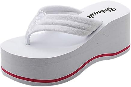 Flip-Flops para Mujer Zapatos Mujer Plataforma Chancletas Moda Sandwich Toe Porciones Fondo Grueso Playa