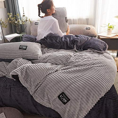 Juego de Funda de edredón para Cama de Matrimonio,Funda nórdica reversible de felpa de peluche con funda de almohada Supersoft Fluffy Thermal Warm Soft Bear Bedding Set-L_Cama de 2,0 m (4 piezas)