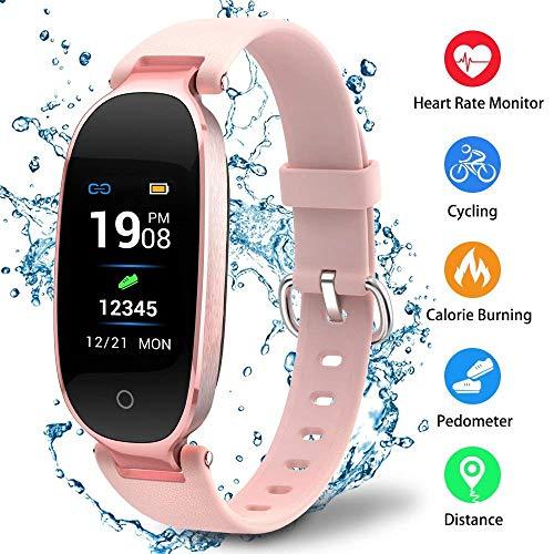 NBWS–Smart Bluetooth Fitness Rastreador K3Inteligente Reloj, Compatible con IP67, Resistente al Agua, con Android/iOS, Rosa