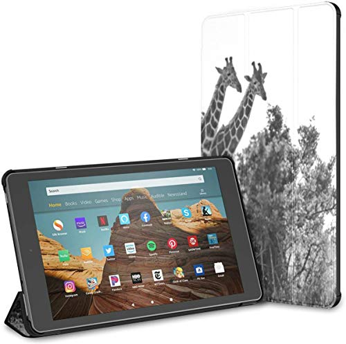 Case for All-New Amazon Fire Hd 10 Tablet (7th and 9th Generation,2017/2019 Release),Slim Folding Stand Cover with Auto Wake/Sleep for 10.1 Inch Tablet, Monochrome Close Portrait Three Giraffes Kenya