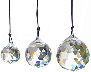 WEISIPU 3PCS Faceted Prism Crystal Balls, Clear Hanging Pendant Suncatcher Balls Prism Pendant Suncatcher 30/40/50MM