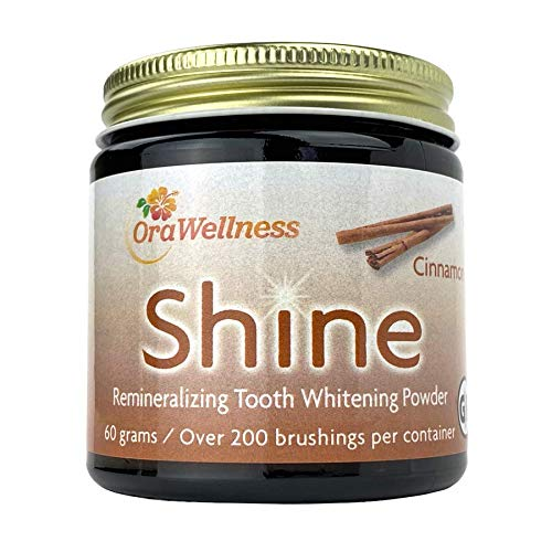 OraWellness Shine Remineralizing Natural Teeth Whitening Powder, Tooth Stain Remover and Polisher with Kaolin Clay Powder, Cinnamon