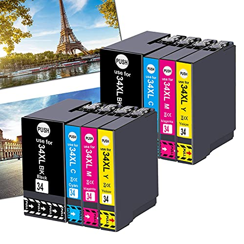 OGOUGUAN 34XL - Cartuchos de tinta compatibles con Epson Workforce Pro WF-3725DWF WF-3720DWF, 8 colores T3476 (2 negro, 2 cian, 2 magenta, 2 amarillo)
