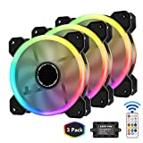 EZDIY-FAB Dual Ring 120mm RGB Case Fan 3-Pack,Quiet Edition High Airflow Adjustable Color LED Case Fan for PC Cases, CPU Coolers with Remote Controller
