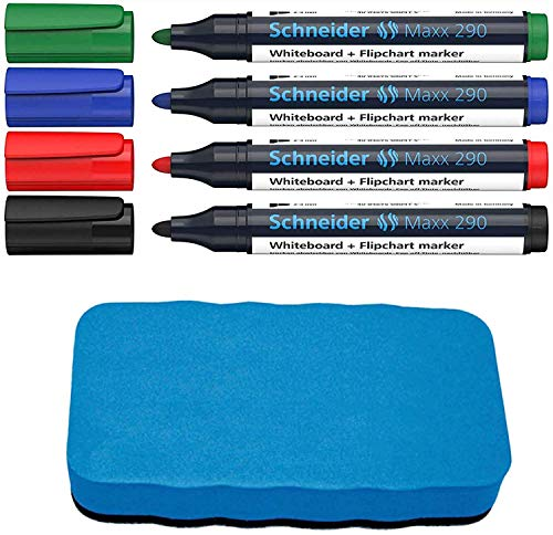 Schneider Maxx 290 Marker (für Whiteboards und Flipcharts, Rundspitze 2-3 mm Strichstärke, rückstandsfrei trocken abwischbar, hohe Qualität, kräftig und farbintensiv) (4er Marker + Löscher)