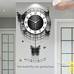 Fleble Modern Wall Clocks for Living Room Decor,Pretty Butterfly Design Black Pendulum Wall Clock Non Ticking Silent Movement Suitable for Bedroom Kitchen Office