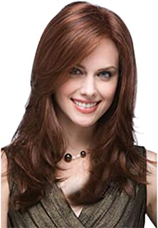 Long Straight Hair Red Wigs Synthetic Hair Full Wigs Real Hair Wigs for Women Heat Resistant Fiber Glueless Wig with Parti...