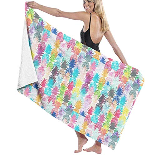 Ewtretr Aquarell Ananas Muster Mikrofaser Strandtücher schnell trocknend super saugfähig Baden Spa Pool Handtücher für Schwimmen & Outdoor, 31 'x 51'
