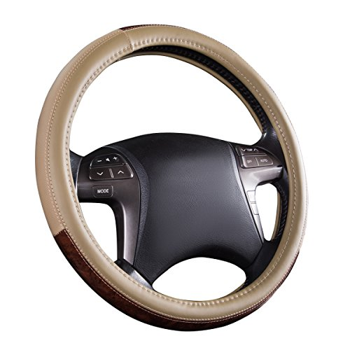 CAR PASS Classic Wood Grain Universal Leather Steering Wheel...