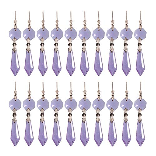 longsheng 20pcs Purple Crystal Chandelier Icicle Prisms Lamp Candelabra Replacement Parts with Octagon Beads,DIY Crystal Curtain Pendants 38mm