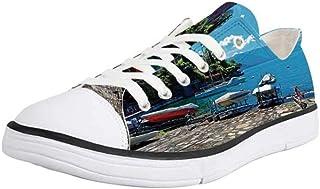 K0k2t0 Canvas Sneaker Low Top Shoes,Coastal Decor,Colorful Sunset Reflection Over Ocean Evening Horizon Romantic Scenery P...