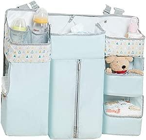 Baby Closet Organizer Multi-function Diaper Storage Crib Hanging Bag Bed Storage Bag Bedside Baby Storage Bag Sorting Bag for Changing Table Crib Playards Color Blue Size 58X13X50CM