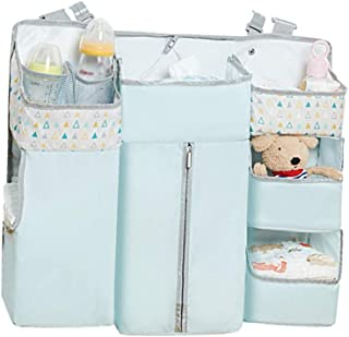 NOLLY Crib Hanging Bag Multi-function Diaper Storage Crib Hanging Bag Bed Storage Bag Bedside Baby Storage Bag Sorting Bag Blue Crib Storage Bag  Color Blue  Size 58X13X50CM