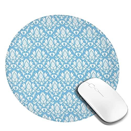 Mauspad mit genähter Kante,Natürliches Muster in Blau und Weiß Bio-Gartenlaub Old Revival Leaves,Kindergeschenk MauspadRutschfestes Gummi-Mousepad,Schreibtischzubehör