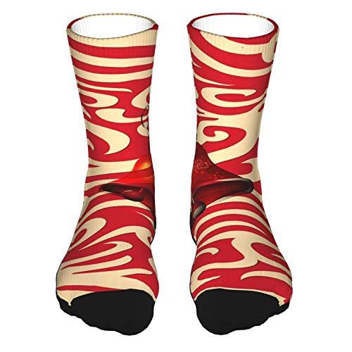 Calcetines deportivos de lujo Longfeng con patrón decorativo de Navidad para correr, calcetines deportivos para mujeres y hombres