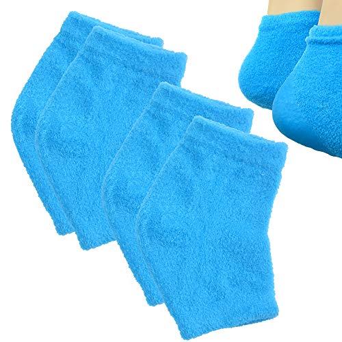 Makhry 2 Paires Chaussettes à Talons en gel de Silicone hydratantes avec Réseau pour Hydrater la peau Sèche et Craquelée (Bleu)