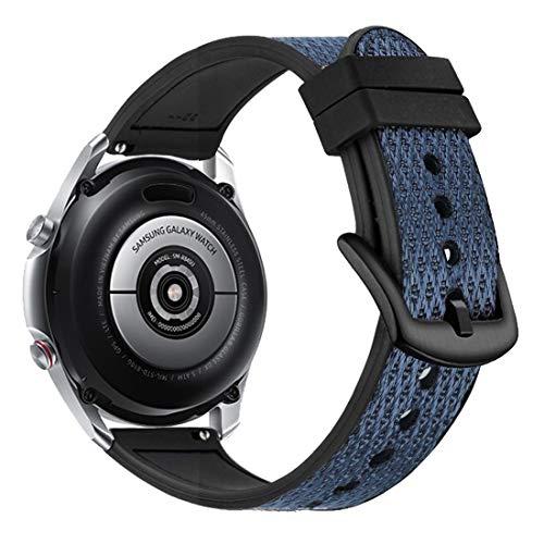 Yooside 22 mm pulsera para Samsung Galaxy Watch3 45 mm, tejido de nailon híbrido de silicona reloj de pulsera para Samsung Galaxy Watch 46 mm/Gear S3 (azul)