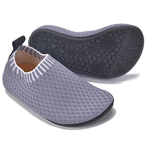 MARITONY Kinder Hausschuhe Mädchen Jungen Anti-Rutsch Leichte Sohle Kleinkinder Schuhe Baby Slipper Unisex,Grau,29EU