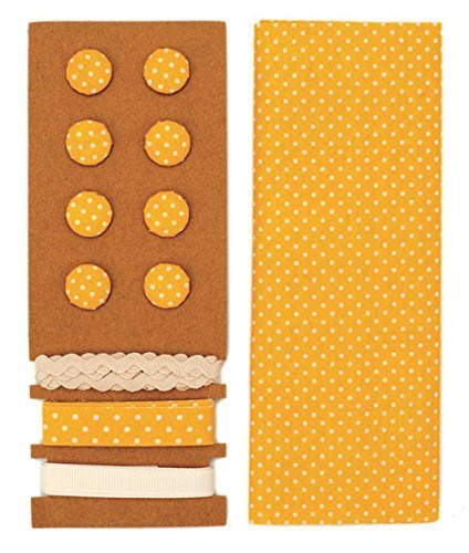 LILI ROSE Jeu de textile jaune pointillé 48x48cm rubans 3x1m 8 boutons