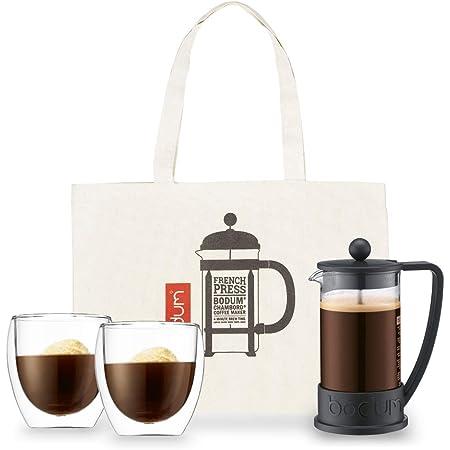 BODUM ボダム コーヒーメーカー、グラス、バッグセット ブラック フレンチプレスセット 【正規品】 BRAZIL/PAVINA K10948-01J-2