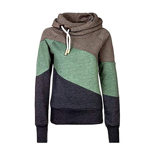 Qingxian Pullover Damen Hoodie Oberteile Sweatshirt Patchwork Pulli Sweatjacke Kapuzenpullover mit Kordel und Rollkragen Khaki XL