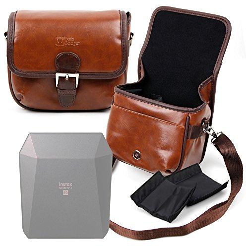 DURAGADGET Bolsa Profesional marrón con Compartimentos para Mini Impresora Móvil Fujifilm Instax Share SP-3 SQ Tamaño Mediano.