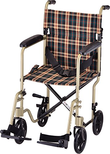 NOVA Lightweight Transport Chair, Folds Compact for Car Trunks and Storage, Great for Travel, Color Champagne with Plaid Upholstery Champagne Plaid, 19 Inch, 1 Count