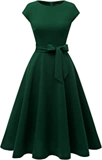 DRESSTELLS Damen 1950er Vintage Retro Rockabilly Kleid Rundausschnitt Cocktailkleid Midilang