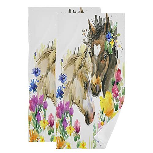 QMIN Toalla de acuarela flor caballo animal toalla de mano suave absorbente toalla cara Set de 2 paños para cocina, baño, yoga, gimnasio, playa, 71,9 x 36,6 cm