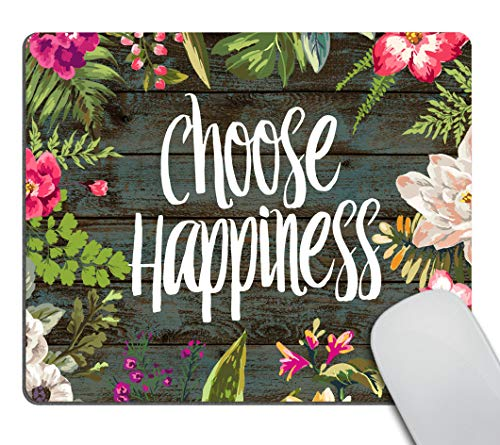 Smooffly Funny Quote Gaming Mouse Pad Custom,Choose Happiness Quotes Vintage Colored Floral Wreath Print Rustic Old Wood Art Mouse Pads