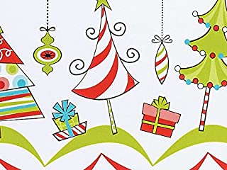 Trendy WHIMSICAL TREES & ORNAMENTS Christmas Holiday Gift Wrap Paper - 16 Foot Roll