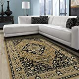 Superior Glendale Collection Area Rug, 8mm Pile Height with Jute Backing, Traditional Oriental Rug Design, Anti-Static, Water-Repellent Rugs, 8' x 10' Rug, Gold