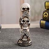 ChaRLes Cráneo Coche Ornamento Escuchar/Ver/Hablar No Mal Mal Apilado Tótem Polos De Escritorio Muebles Artículos Gótico Ciencia Oscura Juguete