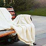 Simple&Opulence Luxury Microfiber Super Soft Throw Blanket with Stereoscopic Grid Design (Creme, 50' x 70')