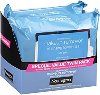 مناديل مزيلة للمكياج من نيتروجينا باكتين Neutrogena Makeup Removing Wipes, 25 Count, Twin Pack