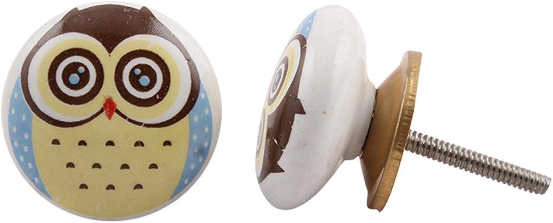 Indianshelf Handmade 12 Piece Owl Multicolor Ceramic Cupboard Pulls Artistic Rust Free Room Kid Furniture Knobs