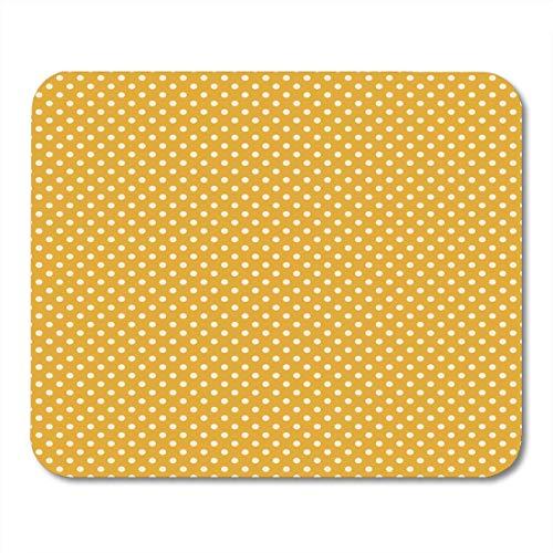 Gaming Mouse Pad Gelb Senf Gold Creme Polka Dot Muster Polkadot Chic Cottage Rechteck Maus Matte Rutschfeste Gummibasis Mousepads Für Computer, Laptop