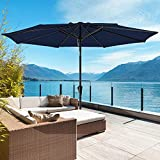 ROWHY 10ft Patio Umbrella Outdoor Table Umbrella Patio Market Umbrella with Push Button Tilt and Crank 8 Ribs for Garden, Lawn, Deck, Backyard & Pool, Navy
