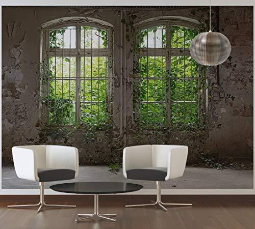 awallo Fototapete «Alte Fenster» in Beige, Braun, Grün, Vliestapete 350x255cm | XXL Bild-Tapete Wand-Bild Digitaldruck
