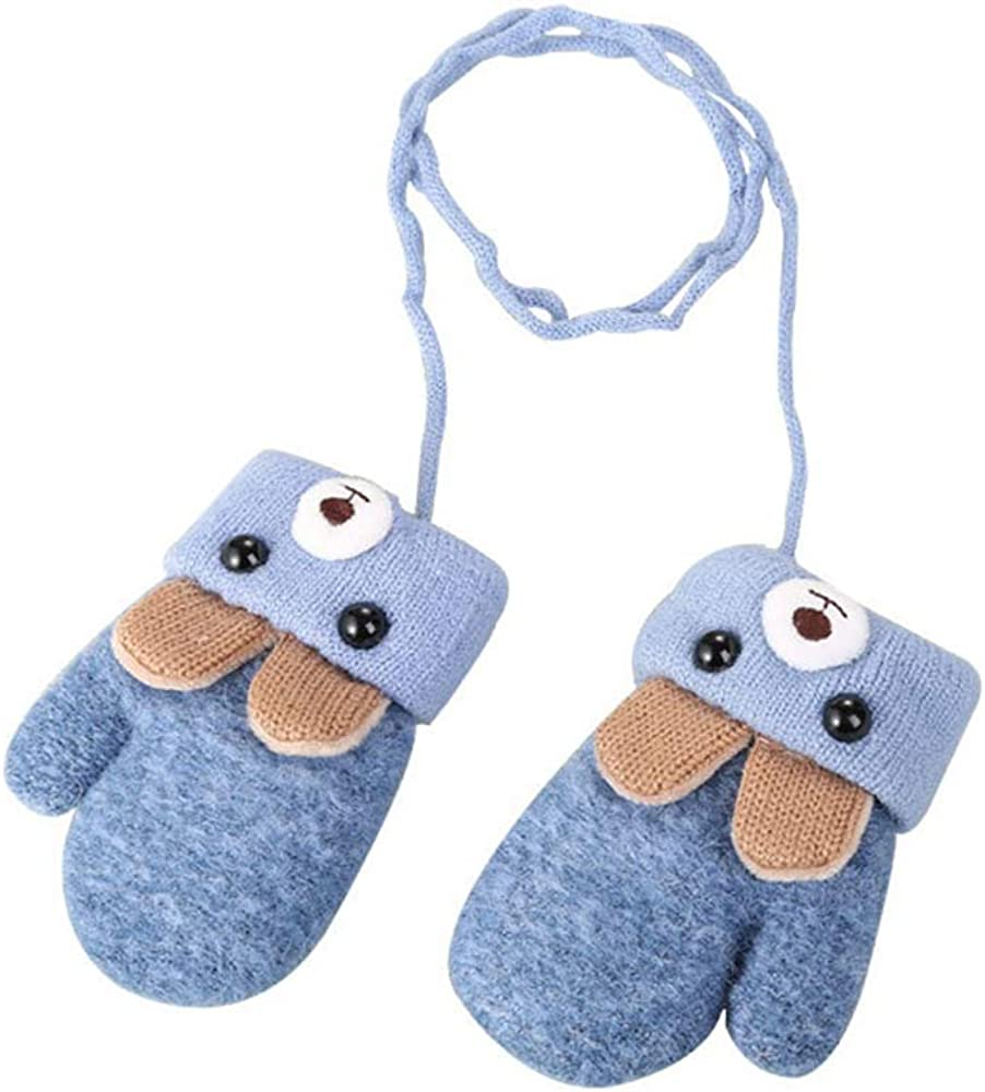 Kacota Baby Winter Mittens Knitted Gloves with Fleece Lined Hang Neck Mittens for Baby Boyes Girls 0-3 Years