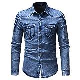 Camisa de Mezclilla para Hombre Nuevo con Mangas Plisadas y Chaqueta de Mezclilla de Manga Larga XL Azul