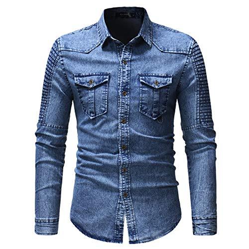 Camisa de Mezclilla para Hombre Nuevo con Mangas Plisadas y Chaqueta de Mezclilla de Manga Larga XXXL Azul