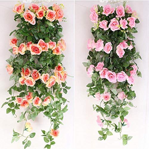 Kunstbloemen 2.4m Zijden Doek Rozenwijnstok met Groene Bladeren voor Thuis Bruiloft Decoratie Nep Bloemen Blad DIY Hangende Slinger, Roze, Verenigde Staten