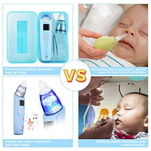 FUNTOK Nasensauger Nasensekretsauger Nasenreinigung Elektrischer Nasal Aspirator für Baby Nasenschleimentferner Nasenpflege für Neugeborene Kleinkinder mit Musik Licht sicher sauber und einfach - 7