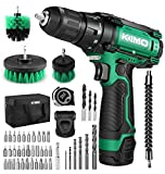 Cordless Drill/Driver Kit, 48pcs Drill Set w/Lithium-Ion Battery Brushes Tape Measure - 12V Max Drill 280 In-lb Torque, 18+1 Metal Clutch, 3/8' Keyless Chuck, Built-in LED - Wood Bricks Walls Metal